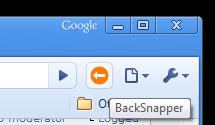 The BackSnapper button once installed in Chrome 4